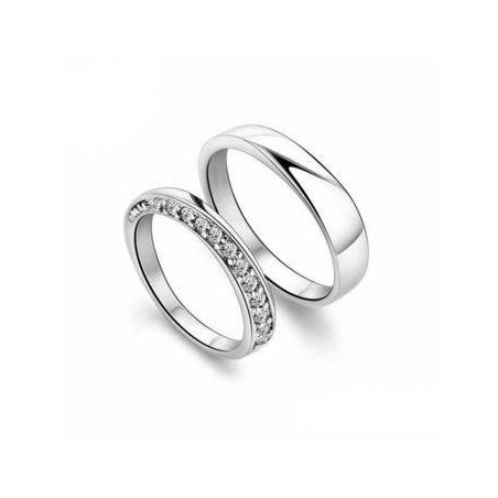 Sterling Silver Zirconia Engagement Ring Set