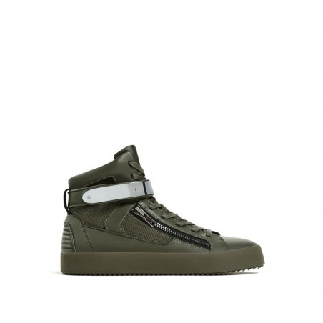 HIGH TOP SNEAKERS WITH ZIP - Khaki
