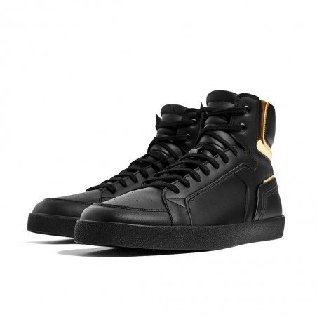 BLACK AND GOLD HIGH-TOP SNEAKERS
